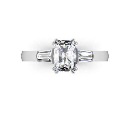 Emerald Cut Three Stone Engagement Ring with Knife s Edge Band 2