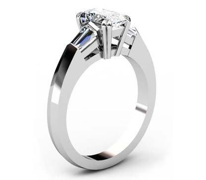 Emerald Cut Three Stone Engagement Ring with Knife s Edge Band 4