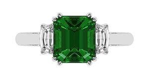 Emerald and Cadillac Diamond Ring 2 2