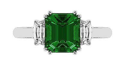 Emerald and Cadillac Diamond Ring 2 2