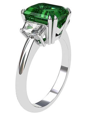 Emerald and Cadillac Diamond Ring 4 2