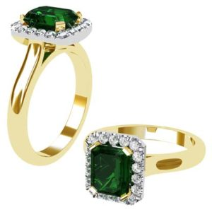 Emerald and Diamond Halo Ring with a Yellow Gold Band 1 2