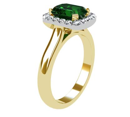 Emerald and Diamond Halo Ring with a Yellow Gold Band 4 2