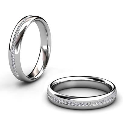 Fine Diamond Bead Set Wedding Ring in Platinum 1 2