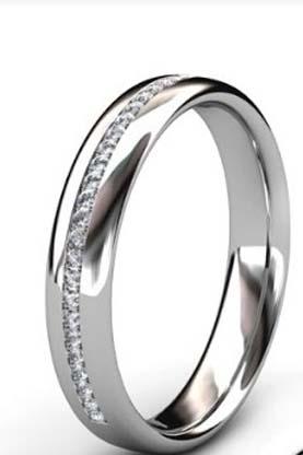 Fine Diamond Bead Set Wedding Ring in Platinum 2