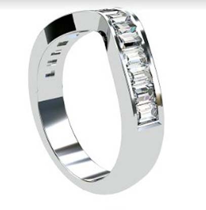 Fitted Baguette Diamond Channel Set Wedding Ring 2