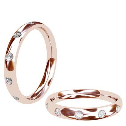 Flush set rose gold wedding ring 1