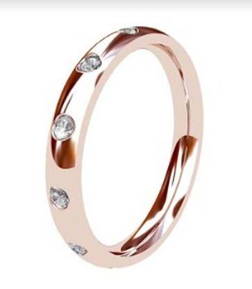 Flush set rose gold wedding ring 4