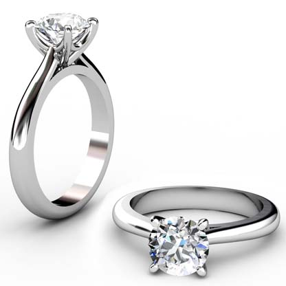 Four Claw Brilliant Cut Round Diamond Solitaire Engagement Ring 1 2