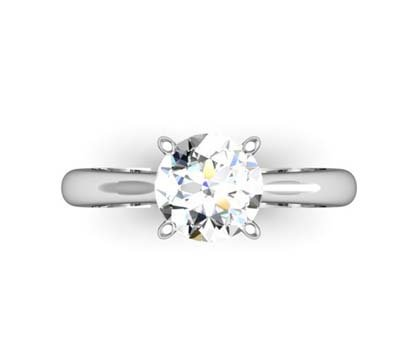 Four Claw Brilliant Cut Round Diamond Solitaire Engagement Ring 2 2