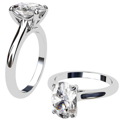Four Claw Oval Shaped Diamond Solitaire Engagement Ring 1 2