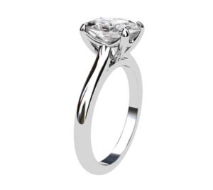 Four Claw Oval Shaped Diamond Solitaire Engagement Ring 4 2