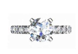 Four Claw Round Brilliant Cut Diamond Engagement Ring 2 2