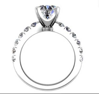 Four Claw Round Brilliant Cut Diamond Engagement Ring 3 2
