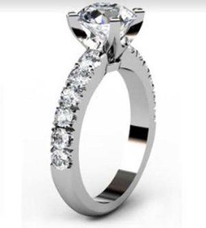 Four Claw Round Brilliant Cut Diamond Engagement Ring 4 2