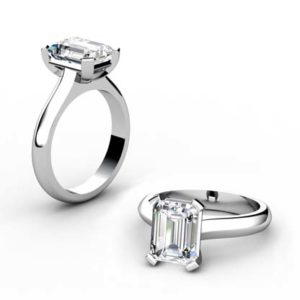 Four Claw Three Carat Emerald Cut Solitaire Diamond Ring 1 2