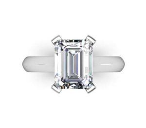 Four Claw Three Carat Emerald Cut Solitaire Diamond Ring 2 2