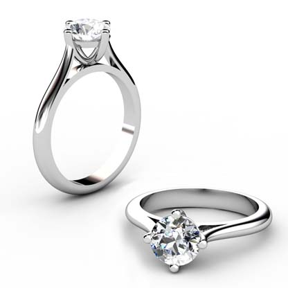 Four Prong Round Brilliant Cut Solitaire Diamond Engagement Ring 1 2