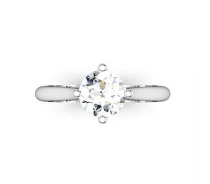 Four Prong Round Brilliant Cut Solitaire Diamond Engagement Ring 2 2