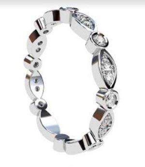 Full Band Eclipse Diamond Wedding Ring 4