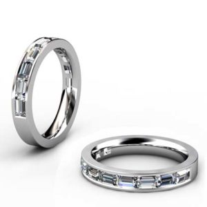 Half Eternity Baguette cut diamond channel set wedding ring 1