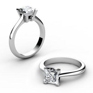 Handmade Solitaire Princess Cut Engagement Ring 1 2