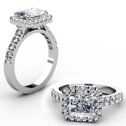 Horizontal Emerald Cut Diamond Halo Ring with Cut Down Band Diamonds 1 2