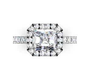 Horizontal Emerald Cut Diamond Halo Ring with Cut Down Band Diamonds 2 2