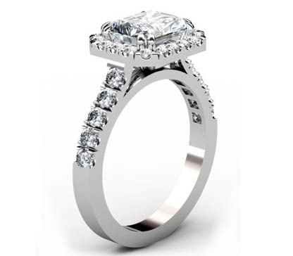 Horizontal Emerald Cut Diamond Halo Ring with Cut Down Band Diamonds 4 2