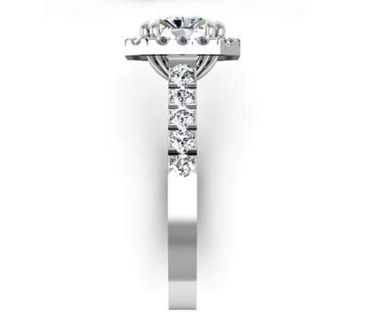 Horizontal Emerald Cut Diamond Halo Ring with Cut Down Band Diamonds 5 2