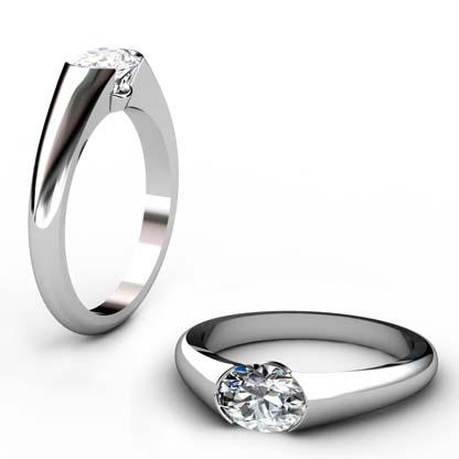 Horizontal Oval Diamond Bezel Set Engagement Ring 1 1 2