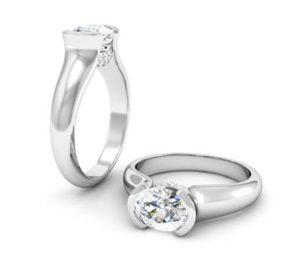 Horizontal Oval Diamond Bezel Set Engagement Ring 1 3