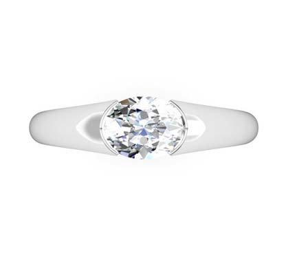 Horizontal Oval Diamond Bezel Set Engagement Ring 2 1 2