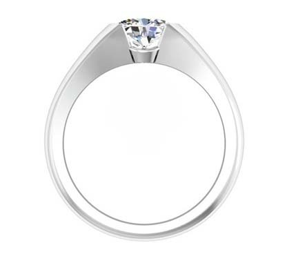 Horizontal Oval Diamond Bezel Set Engagement Ring 3 1 2