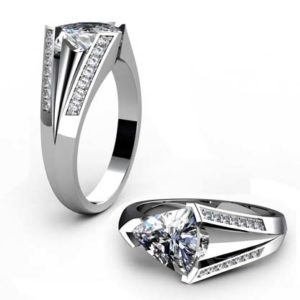 Horizontal Pear Shaped Diamond Engagement Ring with a Bold Design 1 2