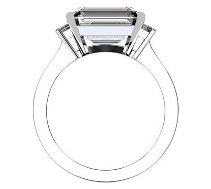 Horizontal Radiant Cut Three Stone Diamond Engagement Ring with Flat Band 3 2