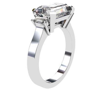 Horizontal Radiant Cut Three Stone Diamond Engagement Ring with Flat Band 4 2