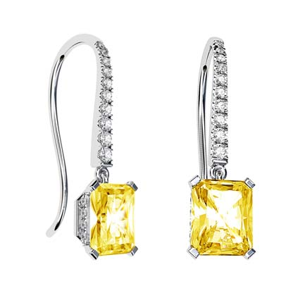 Invisible Halo Yellow Diamond Earrings 1 1