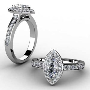 Marquise Diamond Halo Engagement Ring 1 2