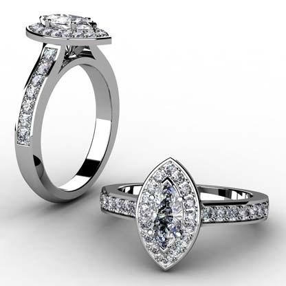 Marquise Diamond Halo Engagement Ring 1 2