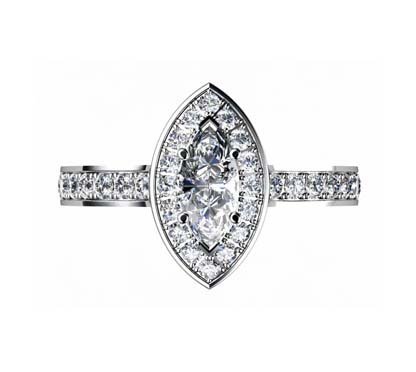 Marquise Diamond Halo Engagement Ring 2 2