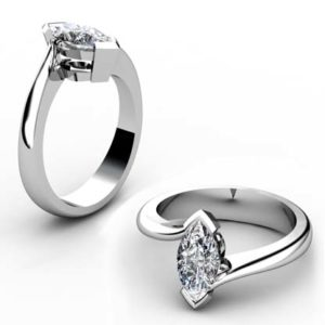 Marquise Diamond Solitaire Engagement Ring with Twisted Band 1 2