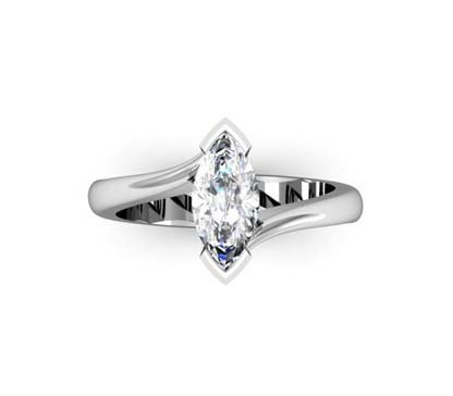 Marquise Diamond Solitaire Engagement Ring with Twisted Band 2 2