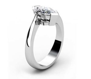 Marquise Diamond Solitaire Engagement Ring with Twisted Band 4 2