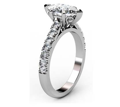 Marquise Shaped Diamond Engagement Ring with Filigree Detailing 4 2