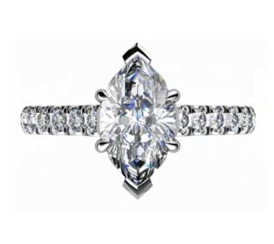Marquise Shaped Diamond Engagement Ring with Filigree Detailing2 2