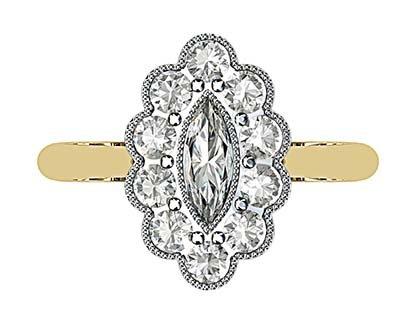 Marquise Vintage Style Halo Diamond Ring 2 2