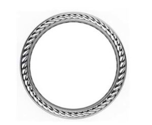 Mens rope and black diamond wedding ring 3