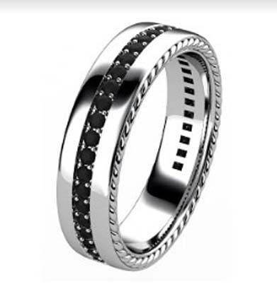 Mens rope and black diamond wedding ring 4