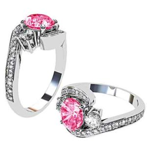 Open V Claw Round Diamond Engagement Ring 1 1 2